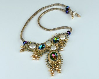 Bead embroidery necklace. Genuine freshwater pearl and crystal necklace.