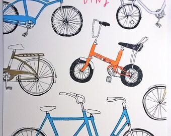 bike screenprint - Faire de le bicyclette