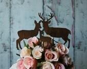 Deer-family-custom-wedding-cake-topper-wood-deer hunter-Mr. and Mrs.-buck-doe-fawn-bride-groom-rustic-western-hunter-deer family-camouflage