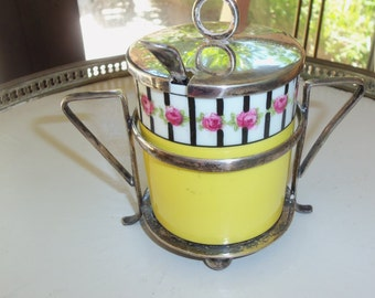 Antique Jam Jar/George Jones/Sale Item/Porcelain Body/Silver Plated Stand Spoon/Hand Painted/Yellow/Roses/Cabinet Display/Christmas Gift