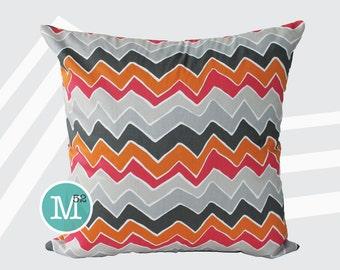Pink & Orange Chevron Pillow Cover Sham - 18 x 18, 20 x 20 and More Sizes - Zipper Closure - sc1820