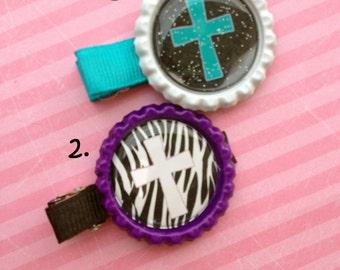 Church Hair Clip, Cross Clips, Church Cross Hair Clip Bottle Cap Set, Church Clips