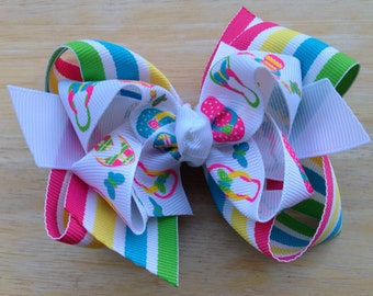 Summer time double boutique hair bow - flip flop bow, summer bow, girls hair bows, girls bows, toddler bows, pink hair bows, hair clips