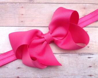 Camelia rose headband - pink bow headband, baby headband, newborn headband, baby bow headband, baby girl headband