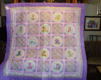 Embroidered Baby Animals Baby Quilt