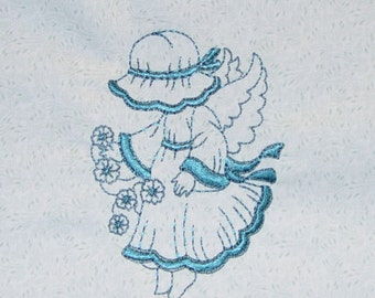 10 Embroidered Cute Bonnet Girl Angel Quilt Blocks