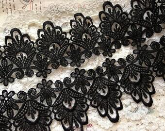 black lace trim, antique lace trim in black, black venice lace trim
