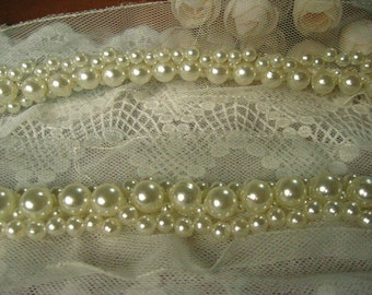 beaded lace trim in ivory, pearl lace trim, for bridal sash, bridal belt, wedding dress lace