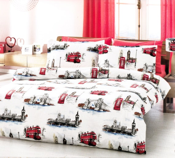 custom queen or full size london theme printed on by myveralinen. Black Bedroom Furniture Sets. Home Design Ideas