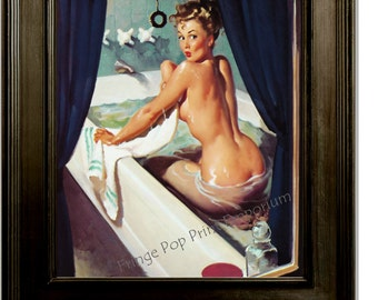 Pin Up Bathing Art Print 8 x 10 - 1950's Pinup Girl Taking a Bath - Risque - Whimsical - Rockabilly - Illustration