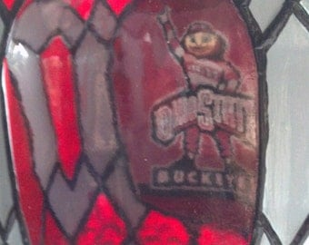 Ohio State Buckeyes Crown Royal bottle Hand Painted Glass OOAK