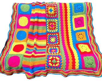 Crochet afghan crochet blanket groovy seventies style afghan groovy afghan retro bright bold colors, one of a kind, READY TO SHIP