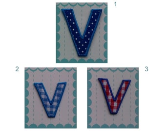 Fabric Letters Iron on Applique Letters - Letter V 5.50 cm 2.16 inches v 4 cm 1.57 inches