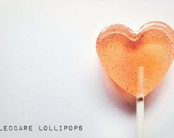 Hard Candy // 6 Pink Grapefruit and Thyme  Lollipops //  Winter Wedding // Custom Labels // Fall Treat // Heart Shape Lollipops