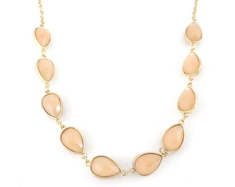 Gorgeous Gold-tone Orange Pink Faceted Beads Necklace,M1
