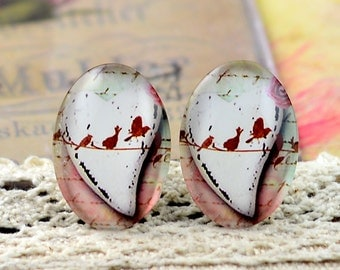 8pcs (10x14mm\13x18mm) 4pcs (18x25mm) 2pcs (20x30mm\30x40mm) Handmade Photo Glass Cabs Cabochons---Lovely Bird