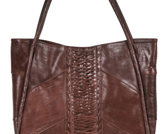 BALI. Brown leather bag  / brown leather tote / oversized leather tote bag / brown leather shoulder bag. Available in different colors.