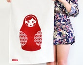 BABUSHKA - Screen Printed Kitchen Tea Towel in Red - littlemissgee
