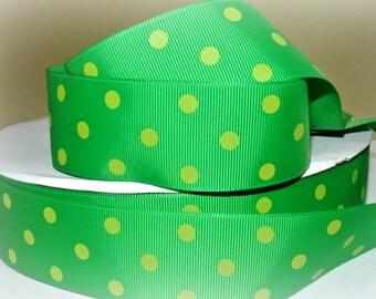 "1.5"" Ribbon by the Yard-Polka Dot Green/Apple Green POLKA DOT grosgrain ribbon by Ribbon Lane Supplies on Etsy"
