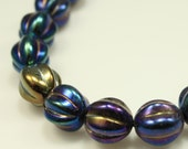 Bead, Preciosa® Czech pressed glass, iris blue, 10x8.5mm fluted round. Qty 10, Czech Glass Beads