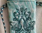 Embroidered Nautical Kraken Wristlet (Slim)