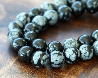 Snowflake Obsidian Beads, 8mm Smooth Round - 15 inch strand - eGR-OB001-8