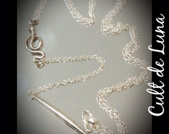 Sterling silver spike and snake lariat style necklace