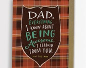 Being Awesome Father's Day Card by Emily McDowell Hand Lettered Plaid Greeting Card 213-C