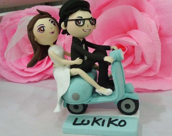 Wedding cake topper black scooter wedding baby blue theme clay doll, Vespa clay figurine, engagement decoration clay miniature, anniversary