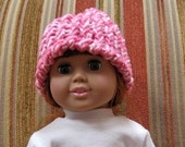 Knitted shades of pink doll beanie hat