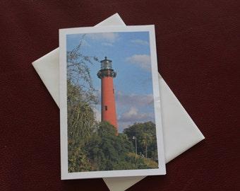 Christmas Card / Florida Lighthouse / Jupiter Florida / Christmas Lighthouse / Free US Shipping / MVMayoPhotography / Handmade