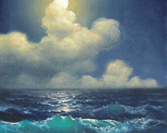 "161 - ""Night on the Black Sea"",  5""x 7"" original canvas giclee print"