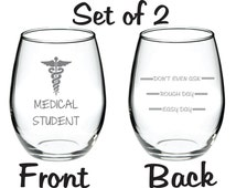 Etched Medical Student Glass Set of 2 with Levels on Back FREE Personalization