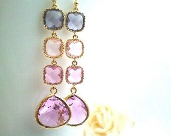 Purple Long Gold Wedding Earrings, Lavender Drop Earrings, Dangle,Gemstone earring, bridesmaid gifts,Wedding jewelry