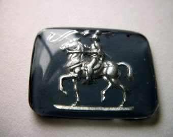 Vintage Glass Intaglio of Silver Horse and Knight   # G 10