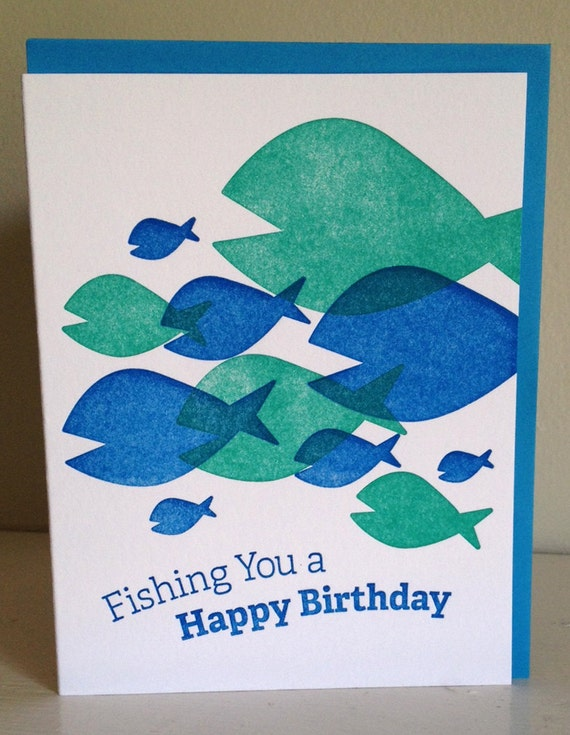 Items similar to fishing you a happy birthday for Fishing birthday wishes