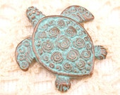 Rustic Patina Two Sided Turtle Casting Pendant Charm, Mykonos Casting Beads - M28 - X5611