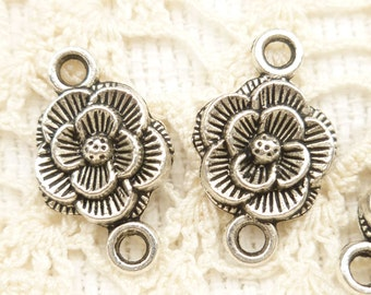 Detailed Rose Connector Finding Charm, Antique Silver (8) - SF33