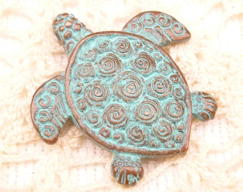 Rustic Patina Two Sided Turtle Casting Pendant Charm, Mykonos Casting Beads - M28