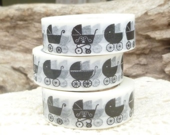 Baby Carriage Baby Stroller Washi Tape, Black White - BB