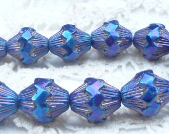 Royal Blue Iris Baroque Bicone Czech Glass Picasso Beads (7 beads) 0242/BIB