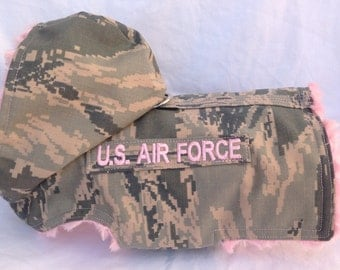 U.S. Air Force Pink Fur Dog Harness Coat With Service/Name Tab - size  xs, s, m  (Made to Order)