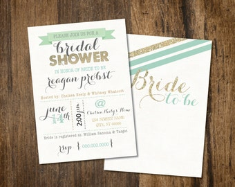 Teal and Gold Bridal Shower Invitation 5x7 CUSTOMIZABLE!