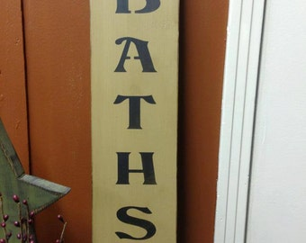 Hot Baths Handcrafted Wooden Sign