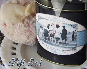 SALE - Gift Set - Dusting Powder SAMPLER with Powder Puff (Summer by the Sea Sampler - 3 fragrances)