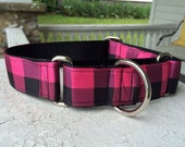 "The Lumberjack Pink Plaid  1.5"" Martingale Collar"