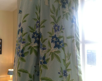 SALE Vintage fabric great for shower curtain, draperies, crafts blue floral