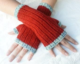 Terra Cotta Orange Fingerless Gloves with Faded Denim Blue Multicolor Trim