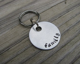 "SALE- Hand-Stamped Keychain ""family""- Hand-Stamped Keychain- Small Keychain"