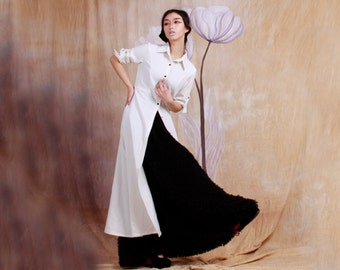 cotton long dress with long sleeve for autumn